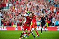 Gareth Bale  of Wales  celebrates the disallowed goal during their UEFA EURO 2016 Group B qualifying round match held at Cardiff City Stadium, Cardiff, Wales, 06 September 2015. EPA/DIMITRIS LEGAKIS