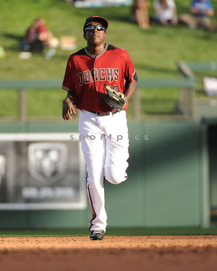 Arizona Diamondbacks Gabriel Guerrero (80) during a preseason game against the Arizona Wildcats on March 1, 2016 at Salt River Fields at Talking Stick in Scottsdale, AZ. The Diamondbacks beat the Wildcats 5-12..