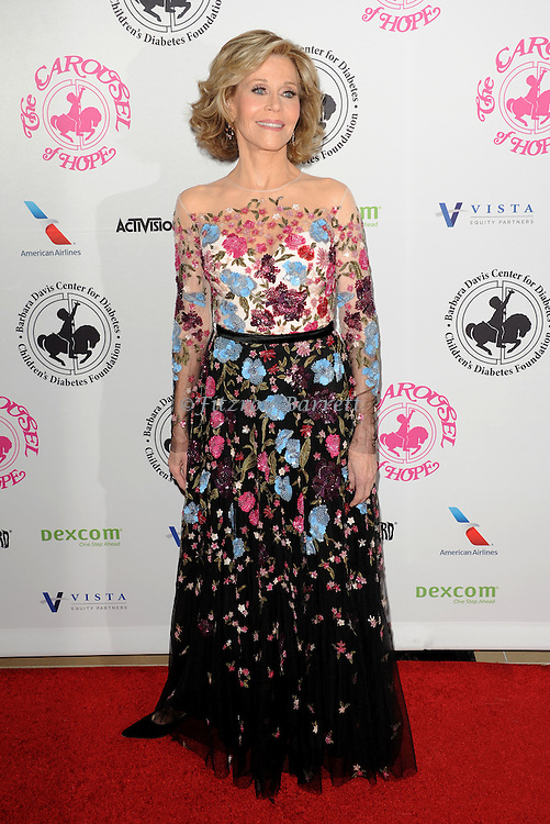 Jane Fonda arriving at The 2016 Carousel Of Hope Ball held at the Beverly Hilton Hotel Beverly Hills California October 8, 2016.