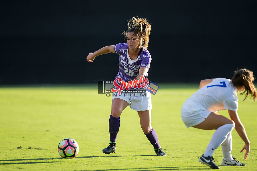 Callyn Loughrey (25) of the High Point Panthers chases after a loose ball during first half action against the Duke Blue Devils at Koskinen Stadium on September 11, 2016 in Durham, North Carolina.  The Blue Devils defeated the Panthers 4-1.   (Brian Westerholt/Sports On Film)