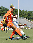 North Carolina's Yael Averbuch (17) tackles the ball from Florida's Shelley Lyle (l) on Sunday September 17th, 2006 at Koskinen Stadium on the campus of the Duke University in Durham, North Carolina. The University of North Carolina Tarheels defeated the University of Florida Gators 1-0 in an NCAA Division I Women's Soccer game.