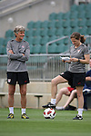17 May 2011: Head coach Pia Sundhage (SWE) with assistant coach Hege Riise (NOR) (right). The United States Women's National Team held a training session at WakeMed Stadium in Cary, North Carolina as part of their preparations for the 2011 Women's World Cup.