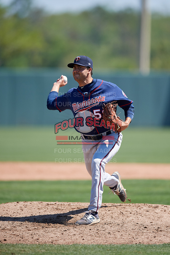 Minnesota Twins pitcher Jared Finkel (59) during a Minor League Spring Training game against the Tampa Bay Rays on March 15, 2018 at CenturyLink Sports Complex in Fort Myers, Florida.  (Mike Janes/Four Seam Images)