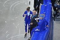 SCHAATSEN: HEERENVEEN: 16-06-2014, IJsstadion Thialf, Zomerijs training, Ireen Wüst, Floor van Leeuwen (assistent-trainer Team Continu), Jorien Voorhuis, ©foto Martin de Jong