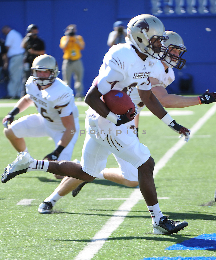 Texas State Bobcats Jarius Gaines (80) in action during a game against San Jose State on October 27, 2012 at Spartan Stadium in San Jose, CA. San Jose State beat Texas State 31-20.