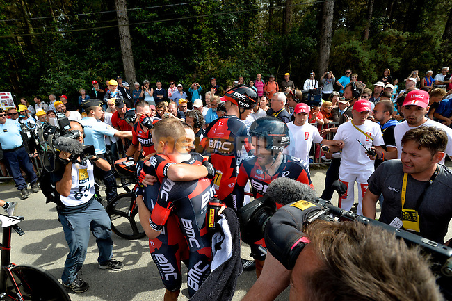 BMC Racing Team celebrate after crossing the finish line during Stage 9 of the 2015 Tour de France a team time trial running 28km from Vannes to Plumelec, France. 11th July 2015.<br /> Photo: ASO/P.Perreve/Newsfile