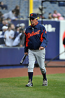 Apr 03, 2011; Bronx, NY, USA; Detroit Tigers manager Jim Leyland (10) during game against the New York Yankees at Yankee Stadium. Tigers defeated the Yankees 10-7. Mandatory Credit: Tomasso De Rosa