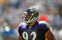 Sep. 20, 2009; San Diego, CA, USA; Baltimore Ravens defensive tackle (92) Haloti Ngata against the San Diego Chargers at Qualcomm Stadium in San Diego. Baltimore defeated San Diego 31-26. Mandatory Credit: Mark J. Rebilas-