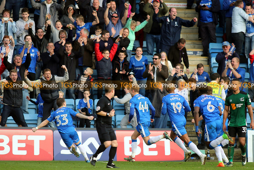 Gillingham's Josh Wright (No 44) celebrates scoring his third goal and penalty of the match during Gillingham vs Scunthorpe United, Sky Bet EFL League 1 Football at the MEMS Priestfield Stadium on 11th March 2017