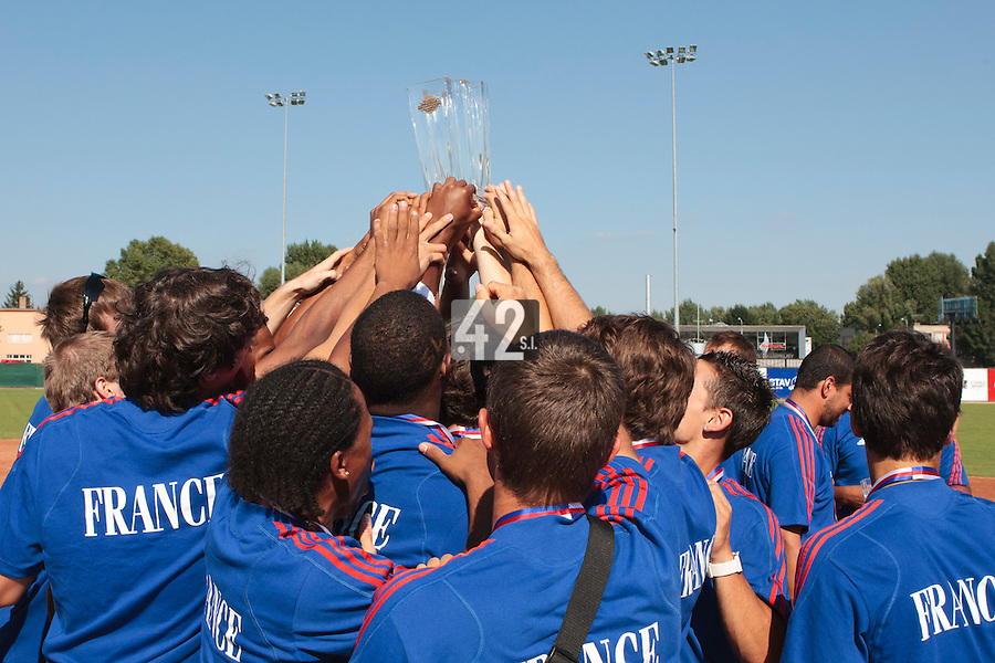 22 August 2010: Team France waives the trophy at the 2010 European Championship, under 21, in Brno, Czech Republic.