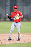 Washington Nationals Austin Davidson (23) during a Minor League Spring Training game against the Miami Marlins on March 28, 2018 at FITTEAM Ballpark of the Palm Beaches in West Palm Beach, Florida.  (Mike Janes/Four Seam Images)