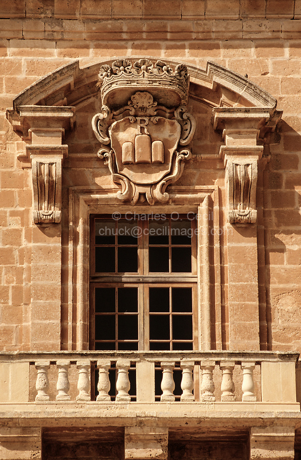 Mellieha, Malta.  Selmun Palace Coat of Arms, mid-18th. Century.  Stone Carving.