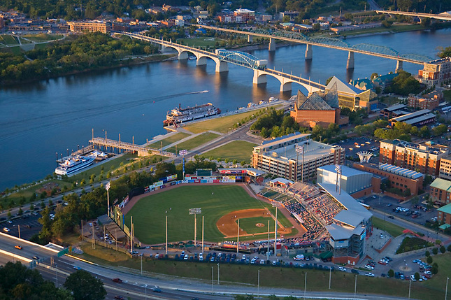 Chattanooga riverfront with game at ball park