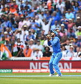 June 18th 2017, The Kia Oval, London, England;  ICC Champions Trophy Cricket Final; India versus Pakistan; Kedar Jadhav of India catches Shoaib Malik of Pakistan