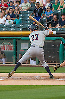 Patrick Kivlehan (27) of the Tacoma Rainiers at bat against the Salt Lake Bees in Pacific Coast League action at Smith's Ballpark on August 31, 2015 in Salt Lake City, Utah. Salt Lake defeated Tacoma 6-5.  (Stephen Smith/Four Seam Images)