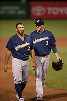 Milwaukee Brewers third base coach Ned Yost IV (3) talks to outfielder Trent Grisham (2) between innings of a Minor League Spring Training game against the Los Angeles Angels at Tempe Diablo Stadium on March 29, 2018 in Tempe, Arizona. (Zachary Lucy/Four Seam Images)
