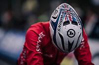 Union Jack helmet by Ben Tulett (GBR) at the start<br /> <br /> Junior Men's Race<br /> UCI CX Worlds 2018<br /> Valkenburg - The Netherlands