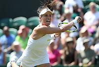 Johanna Konta (GBR) in action against Natalia Vikhlyantseva (RUS) <br /> <br /> Photographer Rob Newell/CameraSport<br /> <br /> Wimbledon Lawn Tennis Championships - Day 2 - Tuesday 3rd July 2018 -  All England Lawn Tennis and Croquet Club - Wimbledon - London - England<br /> <br /> World Copyright &not;&copy; 2017 CameraSport. All rights reserved. 43 Linden Ave. Countesthorpe. Leicester. England. LE8 5PG - Tel: +44 (0) 116 277 4147 - admin@camerasport.com - www.camerasport.com