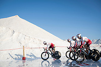 Team Cofidis at the stage start at the salt lake (factory) in Torrevieja <br /> <br /> Stage 1 (TTT): Salinas de Torrevieja to Torrevieja (13.4km)<br /> La Vuelta 2019<br /> <br /> ©kramon
