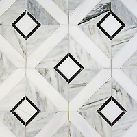 Hadrian, a hand-cut stone mosaic, shown in polished Cirrus, Dolomite, and Nero Marquina, is part of the Palazzo collection by New Ravenna.