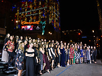 "LOS ANGELES, CA. November 08, 2018: Director Mimi Leder poses with over 80 fellow women filmmakers as the Hollywood Roosevelt Hotel is lit up with projections of their faces at the AFI Fest 2018 world premiere of ""On the Basis of Sex"" at the TCL Chinese Theatre.<br /> Picture: Paul Smith/Featureflash"