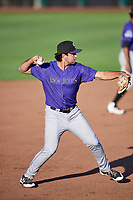 Coco Montes (19) of the Grand Junction Rockies throws to first base during a game against the Ogden Raptors at Lindquist Field on September 7, 2018 in Ogden, Utah. The Rockies defeated the Raptors 8-5. (Stephen Smith/Four Seam Images)