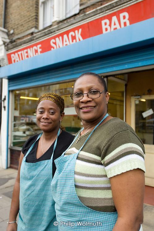 Ingrid Foster and Patience Kuforiji, Patience Snack Bar, Harrow Road, West London.