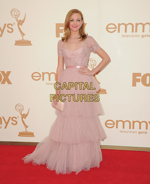 Jayma Mays.15th Annual Entertainment Tonight Emmy Party held at Vibiana, Los Angeles, California, USA..September 18th, 2011.emmys full length dress hand on hip tiered tulle layered layers pink sheer hand on hip clutch bag.CAP/RKE/DVS.©DVS/RockinExposures/Capital Pictures.