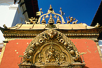 Ornate carvings on Golden Gate in Bhaktapur, Nepal