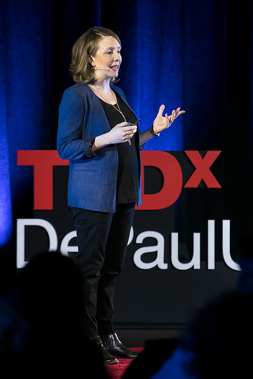 "Julia DiGangi presents her talk ""The Art and Science of Suffering"" at TEDxDePaulUniversity Tuesday, April 18, 2017, in the Lincoln Park Student Center. TEDxDePaulUniversity is an independently run, self-organized event. Through the theme ""Courage to Connect"" 10 speakers from across the DePaul community challenged thoughts and inspired ideas through a series of engaging talks and presentations. (DePaul University/Jeff Carrion)"