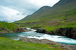 June 2016 - Akureyri, North Iceland -  Home to atlantic salmon, this beautiful river winds its way toward Grenivik, North Iceland.