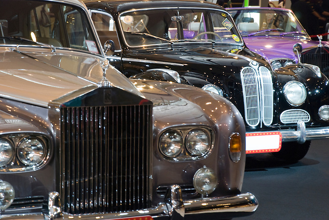 Row of Rolls Royce cars at Classic Car Show in Bangkok