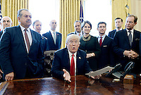 United States President Donald Trump, flanked by business leaders, speaks before signing an executive order establishing regulatory reform officers and task forces in US agencies in the Oval Office of the White House on February 24, 2017 in Washington, DC. Photo Credit: Olivier Douliery/CNP/AdMedia