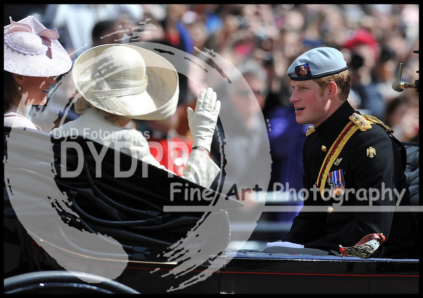 The Duchess of Cambridge, The Duchess Of Cornwall and Prince Harry leave Buckingham Palace on their way to Horse Guards Parade for Trooping The Colour, London, United Kingdom,<br /> Saturday, 15th June 2013