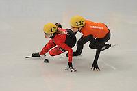 OLYMPICS: SOCHI: Iceberg Skating Palace, 13-02-2014, Shorttrack, 500m Relay Ladies, Semifinals, Marianne St-Gelais (#108   CAN), Jorien ter Mors (#142   NED), ©photo Martin de Jong