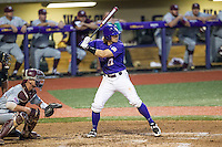LSU Tigers second baseman Jared Foster (17) at bat during a Southeastern Conference baseball game against the Texas A&M Aggies on April 24, 2015 at Alex Box Stadium in Baton Rouge, Louisiana. LSU defeated Texas A&M 9-6. (Andrew Woolley/Four Seam Images)