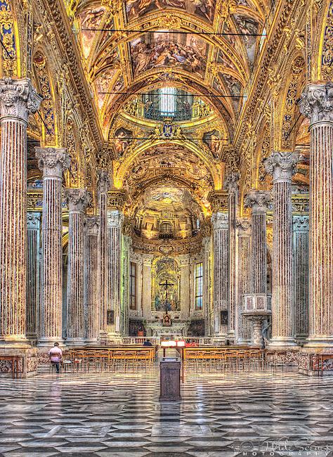 The interior of Santissima Annunziata del Vastato church in Genoa, Italy