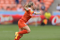 Houston, TX - Saturday April 15, 2017:  Kealia Ohai celebrates after scoring the first goal during a regular season National Women's Soccer League (NWSL) match won by the Houston Dash 2-0 over the Chicago Red Stars at BBVA Compass Stadium.