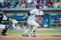Mike Ford (36) of the Scranton/Wilkes-Barre RailRiders follows through on his swing at Victory Field on May 14, 2019 in Indianapolis, Indiana. The Indians defeated the RailRiders 4-2. (Andrew Woolley/Four Seam Images)