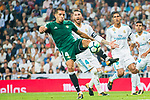 Zouhair Feddal Agharbi of Real Betis (front) fights for the ball with Sergio Ramos of Real Madrid (back) during the La Liga 2017-18 match between Real Madrid and Real Betis at Estadio Santiago Bernabeu on 20 September 2017 in Madrid, Spain. Photo by Diego Gonzalez / Power Sport Images