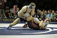 STATE COLLEGE, PA - JANUARY 25: Logan Storley of the Minnesota Golden Gophers and Matt Brown of the Penn State Nittany Lions during their match on January 25, 2015 at Recreation Hall on the campus of Penn State University in State College, Pennsylvania. (Photo by Hunter Martin/Getty Images) *** Local Caption *** Matt Brown;Logan Storley