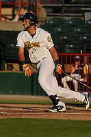 Burlington Bees Webster Rivas (14) swings during the Midwest League game against the Peoria Chiefs at Community Field on June 8, 2016 in Burlington, Iowa.  Burlington won 4-2.  (Dennis Hubbard/Four Seam Images)