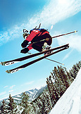 USA, Colorado, Aspen, telemark skier getting air, Aspen Highlands