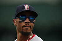 OAKLAND, CA - APRIL 4:  Mookie Betts #50 of the Boston Red Sox runs off the field against the Oakland Athletics during the game at the Oakland Coliseum on Thursday, April 4, 2019 in Oakland, California. (Photo by Brad Mangin)