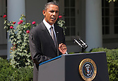United States President Barack Obama makes a statement on the economy in the Rose Garden of the White House on Monday, August 30, 2010. .Credit: Dennis Brack / Pool via CNP