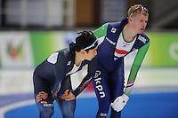 SCHAATSEN: BERLIJN: Sportforum Berlin, 05-12-2014, ISU World Cup, Kang-Seok Lee (KOR), Gerben Jorritsma (NED), ©foto Martin de Jong
