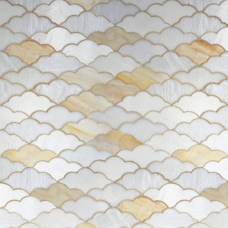 Clouds, a waterjet glass mosaic shown in Opal, Agate and Moonstone, is part of the Erin Adams Collection for New Ravenna.
