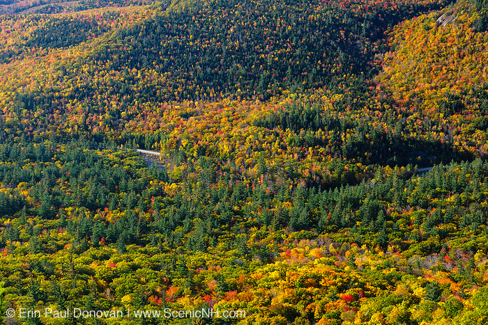 Kancamagus Highway from Boulder Loop Trail in the White Mountains, New Hapshire USA during the autumn months.