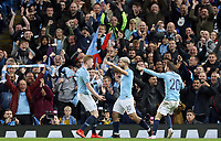Manchester City's Sergio Aguero celebrates scoring his side's fourth goal with team-mates Kevin De Bruyne (left) and Bernardo Silva<br /> <br /> Photographer Rich Linley/CameraSport<br /> <br /> UEFA Champions League - Quarter-finals 2nd Leg - Manchester City v Tottenham Hotspur - Wednesday April 17th 2019 - The Etihad - Manchester<br />  <br /> World Copyright © 2018 CameraSport. All rights reserved. 43 Linden Ave. Countesthorpe. Leicester. England. LE8 5PG - Tel: +44 (0) 116 277 4147 - admin@camerasport.com - www.camerasport.com