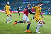 23rd March 2018, Ullevaal Stadion, Oslo, Norway; International Football Friendly, Norway versus Australia; Milos Degenek of Australia holds off the  challenge from Mohamed Elyounossi of Norway